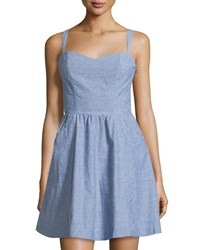 Joie Yomi Chambray Sleeveless Fit And Flare Dress Light Wash Indigo