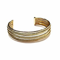 Agnes De Verneuil Gold Seven Band Cuff Bracelet Line And Pearls Gold Yellow Orange