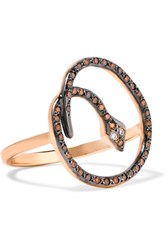 Ileana Makri Lucky Snake Gold Tone Crystal Ring Purple