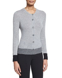 Agnona Colorblock Cashmere Button Front Cardigan Gray Ivory Black