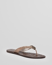 Tory Burch Thong Flip Flop Sandals Thora 2 Pewter