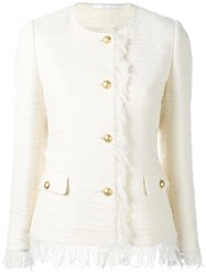 Tagliatore Buttoned Tweed Jacket White