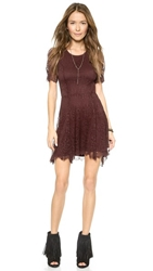 Nightcap Clothing Petite Jacquard Fit And Flare Dress Merlot