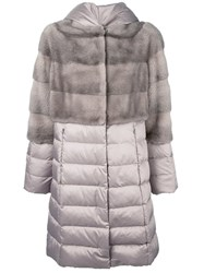 Liska Mink Fur Panel Puffer Coat Nude And Neutrals