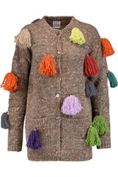 Stella Jean Tassel Embellished Wool Alpaca And Silk Blend Cardigan Mushroom