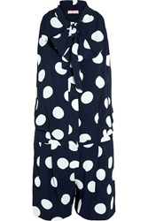 See By Chloe Pleated Polka Dot Crepe Playsuit Blue