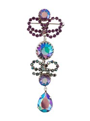 Christian Dior Vintage Crystal Drop Brooch Pink And Purple