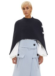 Marni Cropped Cut Out Cape Navy