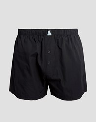 Asos Woven Boxers In Black With Triangle Logo Black
