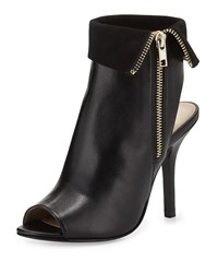 Neiman Marcus Fiona Suede Trim Leather Bootie Black