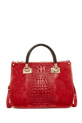 Carla Ferreri Croc Embossed Leather Handbag Red