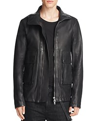 Helmut Lang Funnel Neck Leather Jacket Black