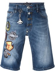 Philipp Plein Patched Denim Bermudas Blue