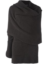 Isabel Benenato Draped One Sleeve Cape Brown