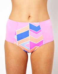 Zinke High Waisted Bikini Bottom With Chevron Print Multi