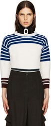Raf Simons White Wool Stripes Sweater