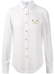 Loewe Cat Embroidered Blouse White