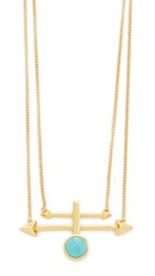 Rebecca Minkoff Boho Bead Spike Pendant Necklace Gold Turquoise