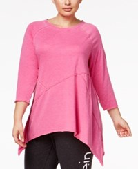 Calvin Klein Performance Plus Size Handkerchief Hem Tunic Dragonfruit
