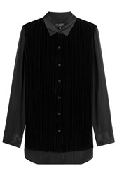 Rag And Bone Velvet Blouse With Silk Black
