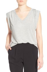 Trouve Women's Trouve Shoulder Pleat Sleeveless Tee Grey Heather