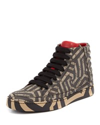 Gucci Gg Caleido Canvas High Top Sneaker Brown Black Size 11G 12Us