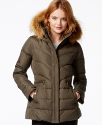 Larry Levine Faux Fur Hood Down Puffer Jacket Loden
