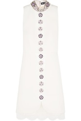 Holly Fulton Embellished Lace Trimmed Wool Gabardine Mini Dress