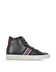 D'acquasparta Wimbledon Black Leather And Suede High Top Sneaker Multicolor
