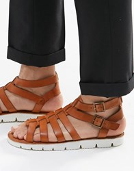 Dune Leather Sandals In Tan Tan