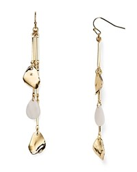 Aqua Emily Leaf Triple Drop Earrings Gold