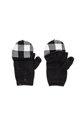 Plush Fleece Lined Plaid Mittens Black