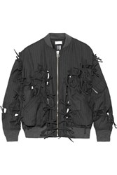 Facetasm Bow Embellished Pinstriped Wool Twill Bomber Jacket Charcoal