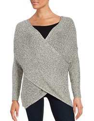 Design Lab Lord And Taylor Mock Wrap Knit Sweater Silver