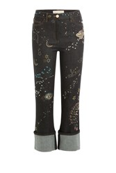 Valentino Embroidered And Embellished Cropped Jeans Blue