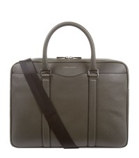 Boss Grained Leather Briefcase Unisex Grey