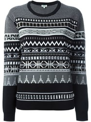 Kenzo Multi Logo Embroidered Sweater Black