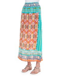 Tolani Hazel Printed Silk Long Skirt Orange Women's