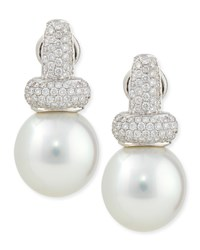 Avenue Diamond And White Pearl Earrings Belpearl
