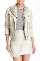 Andrew Marc New York Hooded Leather Moto Jacket White