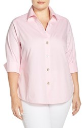 Plus Size Women's Foxcroft 'Paige' Non Iron Cotton Shirt Chambray Pink