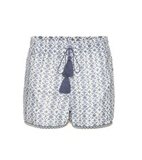 Talitha Iznik Printed Cotton And Silk Shorts Blue