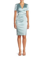 Talbot Runhof Stretch Satin Dress Baby Blue