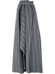 Brunello Cucinelli Embellished Trim Striped Maxi Skirt Grey