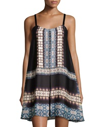 Muse Tribal Print Sleeveless Swing Dress Black Multi