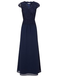 Jacques Vert Lace Cross Bodice Maxi Gown Navy