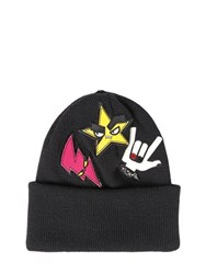 Dsquared Punk Patent Patches Wool Beanie Hat