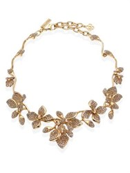 Oscar De La Renta Gradient Crystal Flower Necklace Light Gold