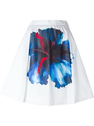 Dsquared2 Flower Print Pleated Skirt White