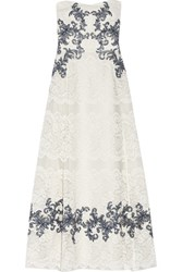 Marchesa Notte Embellished Lace Midi Gown Ivory